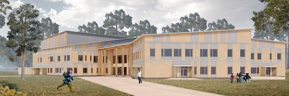 Ivalon koulukeskus Accoya ulkosivuverhous